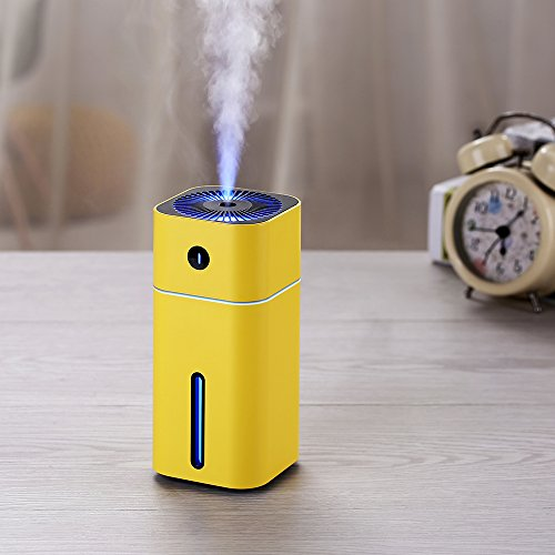 Portable Cool Mist Humidifier Ultrasonic with 7 Auto-Changing Light Function, USB Humidifier with Auto Shut-Off, Multi Use for Travel, Office, Car, Kids Bedroom, Adjustable Mist Modes, 180ML (Yellow)