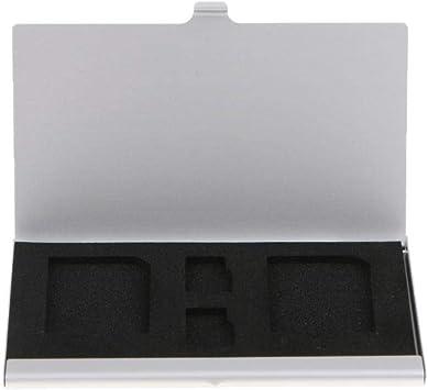 Hongfei Porta Tarjetas SD con 4 Ranuras, Estuche de Almacenamiento de la Tarjeta de Memoria de la cámara, Aluminio TF Micro SD Card Protector, Delgado, Duradero, a Prueba de Golpes | Plata: