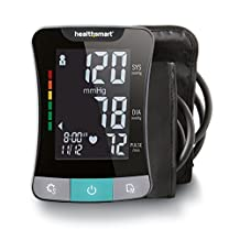 HealthSmart Premium Talking Digital Arm Blood Pressure Monitor with Standard and Large Cuffs, Two Person 120 Reading Memory, Black and Gray