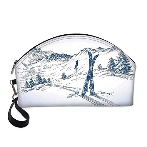 Winter Decorations Small Portable Cosmetic Bag,Sketchy Graphic of a Downhill with Ski Elements in Snow Relax Calm View For Women,One size