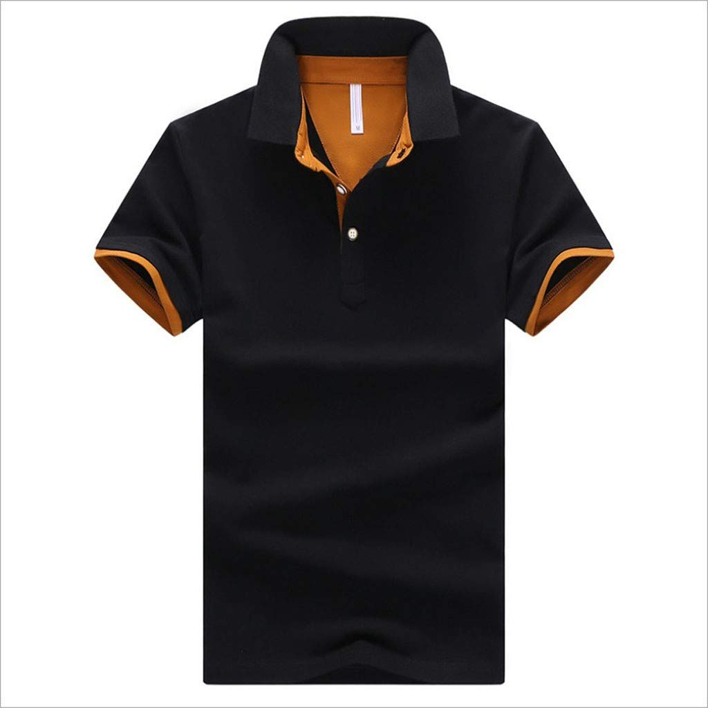 Mlide Mens Casual Slim Fit Polo T-Shirts Basic Designed Summer New Pure Collar Short Sleeves Casual Top,Black L