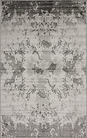 Modern Abstract Vintage 5 feet by 8 feet (5' x 8') Metro Light Gray Contemporary Area Rug