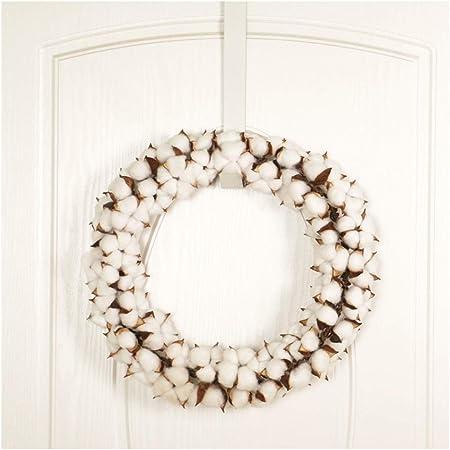 LDFN Garland Puerta Colgando decoración de Acción de Gracias Navidad Blanca de algodón aro Guirnalda de algodón cifrado Corona (Color : A): Amazon.es: Hogar