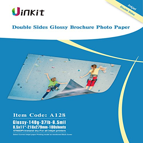 Double Paper Sided Inkjet Glossy - Thin Double Sided Glossy Photo Paper - 100 Sheets 8.5x11 Inches 6.5Mil 140g For Inkjet Printing Only