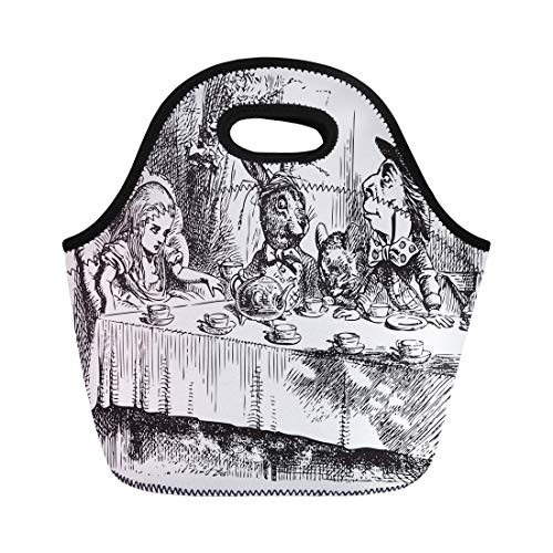 Semtomn Neoprene Lunch Tote Bag Mad Hatter Tea Party Original Vintage Engraving the Dormouse Reusable Cooler Bags Insulated Thermal Picnic Handbag for Travel,School,Outdoors,Work