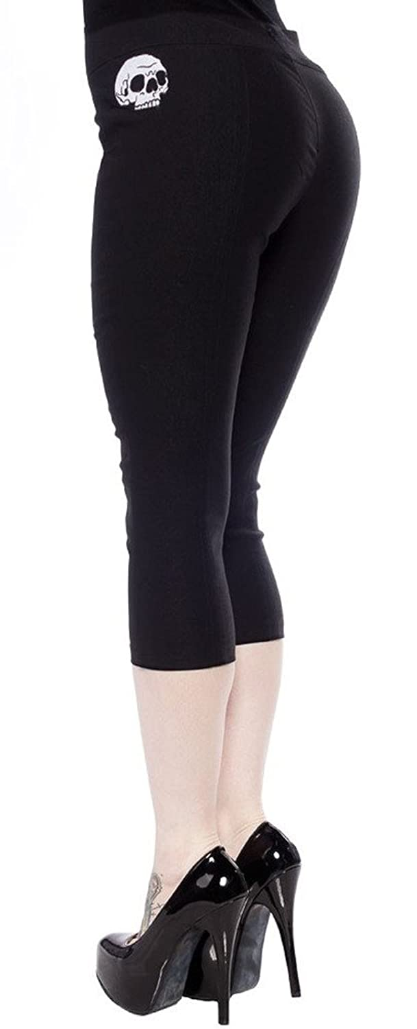 1950s Shorts Womens Sourpuss Skull Sugar Pie Capris Black $45.99 AT vintagedancer.com