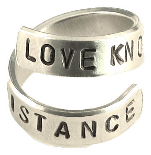 Love Knows No Distance - I Love You Ring- Deployment- Long Distance Relatonship- Stamped Ring
