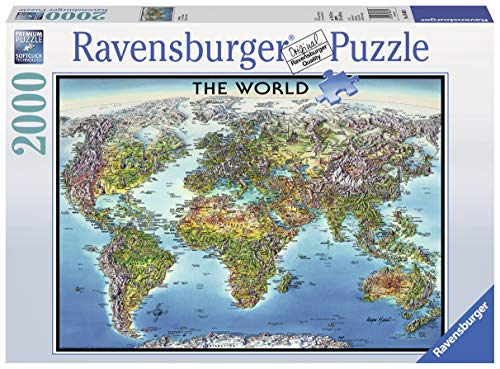 Ravensburger World Map 2000 Piece Jigsaw Puzzle for Adults - Softclick Technology Means Pieces Fit Together ()