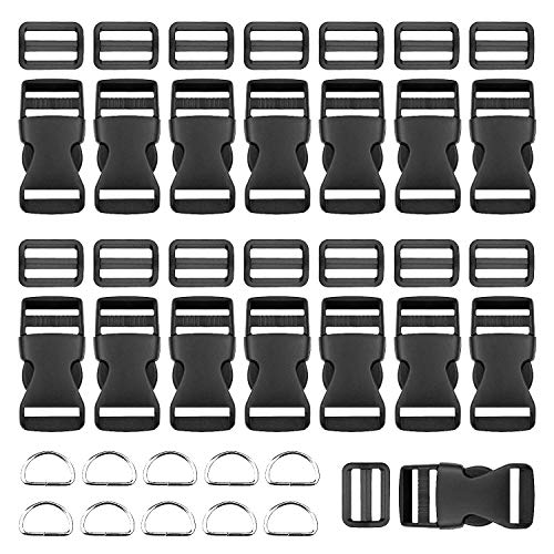 Plastic Side Release Buckles 15 Pieces 1 Inch Flat Shape BTNOW Brand 15 Pieces Tri-Glide Slides for 1 Inch Webbing Strap ()