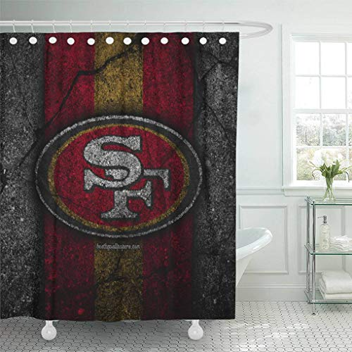 (Ladble Decor Shower Curtain Set with Hooks San Francisco City 49ers Black Stone Football Art Asphalt Texture West Division 72 X 78 Inches Polyester Waterproof Bathroom)
