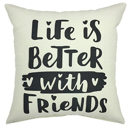 YOUR SMILE-Life is better with friends Cotton Linen Square Cushion Covers Throw Pillow Covers Decorative 18 x 18 (C01) -