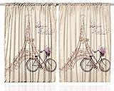 Ambesonne Paris Curtains 2 Panel Set, Eiffel Tower Floral Style Romantic Vintage Bike with Flowers Bonjour Paris Quote Print, Kids Bedroom Decor, 108X84 Inches, Beige