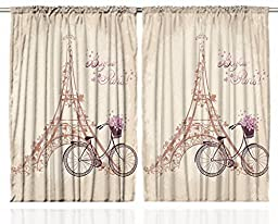 Paris Curtains 2 Panel Set by Ambesonne, Eiffel Tower Floral Style Romantic Vintage Bike with Flowers \