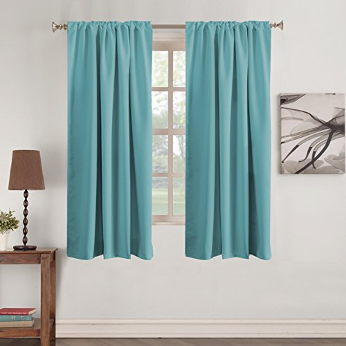 Aqua Curtain - Turquoize Aqua Curtains Thermal Insulated Blackout Curtain Drapes Back Tab/Rod Pocket Window Treatment 2 Panels for Bedroom/Living Room 52 x 63 Inch