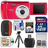 Vivitar ViviCam VXX14 Selfie Digital Camera (Red) with 32GB Card + Case + Flex Tripod + Reader + Kit