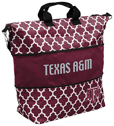 Logo Brands NCAA Texas A&M Aggies Quatrefoil Expandable Tote, Maroon, One Size