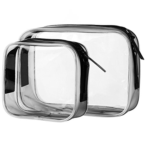 ALINK TSA Approved Clear Travel Size Toiletry Bag, Airline Carry-On Makeup Accessories Cosmetic Bag, 2 Pack