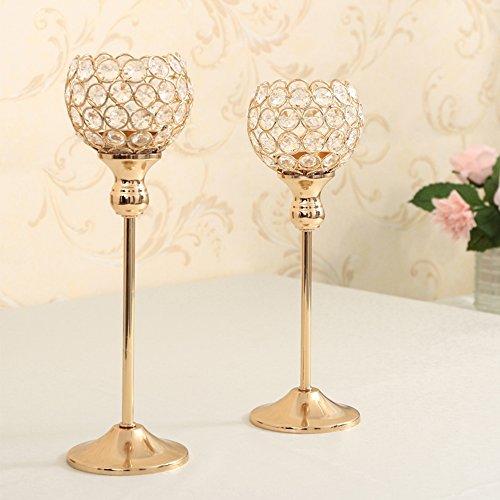 VINCIGANT Kristall Kerzenständerr 2er SET Teelichthalter Kerzenhalter Kerzenleuchter Tischdeko Gastgeschenke Goldene 30 & 35cm H
