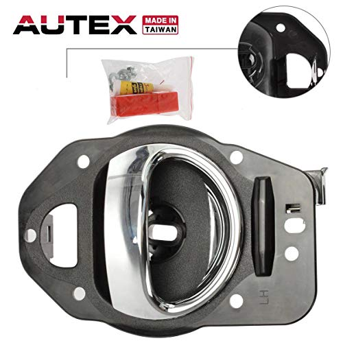 AUTEX Interior Inner Front/Rear Left Door Handle Compatible with Chevrolet HHR 2006 2007 2008 2009 2010 2011 Door Handle Driver Side & Chrome Lever and Black Housing 80369, 25812196