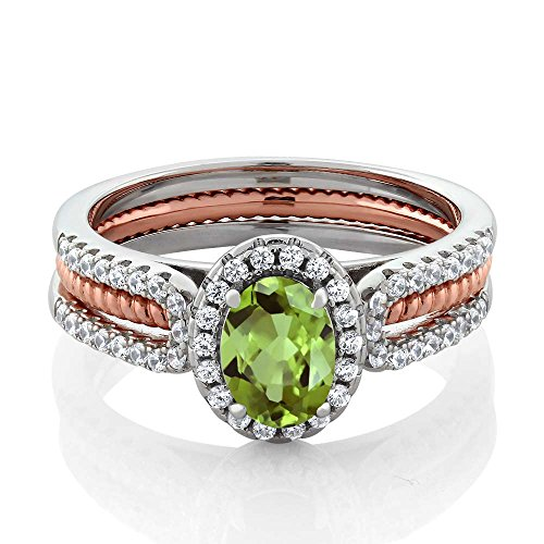 Comfort Fit Cathedral Solitaire (1.42 Ct Oval Green Natural Peridot 925 Two-Tone Sterling Silver Wedding Band Insert Engagement Women's Ring (Available in size 5, 6, 7, 8,)