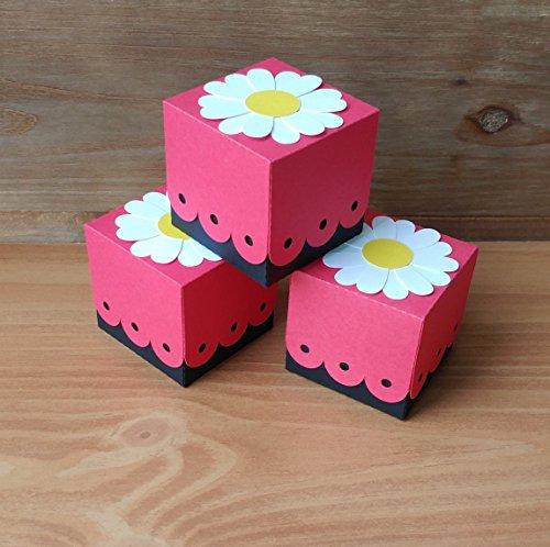 Lady Bug Favor Boxes - Set of 10 - Daisy Favors - Truffle Boxes (Truffles Favor)