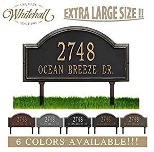 "Personalized Cast Metal Address plaque - LAWN MOUNTED Providence Arch (Large Option, 22.5"" wide) . Display your address and street name. Comes with two lawn stakes"