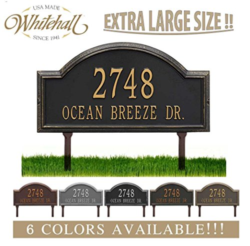 Personalized Cast Metal Address plaque - LAWN MOUNTED Providence Arch (Large Option, 22.5'' wide) . Display your address and street name. Comes with two lawn stakes by Metal Address Plaque