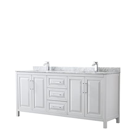 Wyndham Collection Daria 80 Inch Double Bathroom Vanity In White, White  Carrara Marble Countertop,