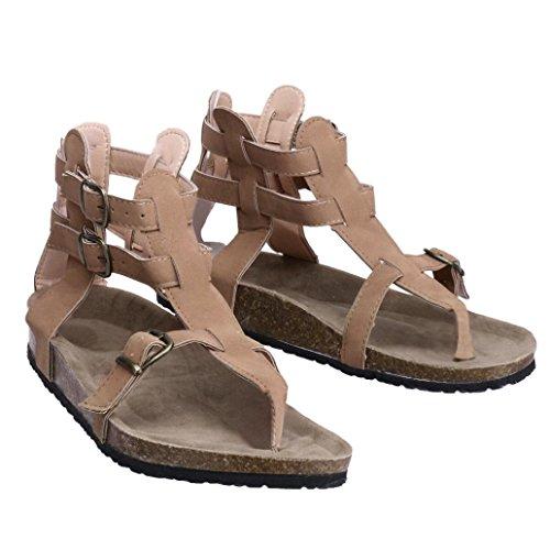 913a8de10 BSGSH Womens Flip Flop Roman/Gladiator Ankle Wrap Cutout Flat Sandal  Fisherman Sandal