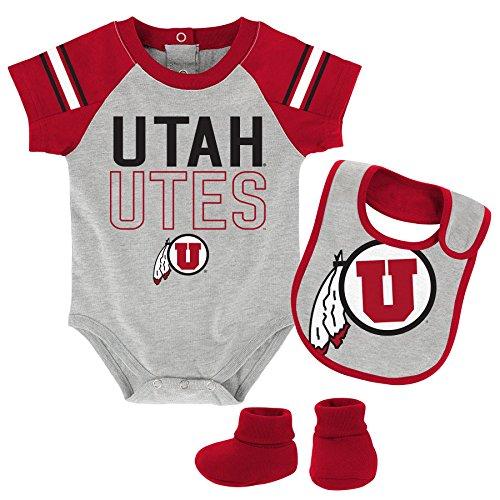 OuterStuff NCAA Utah Utes Children Boys Blitz Onesie, Bib & Bootie Set, 0-3 Months, Heather Grey