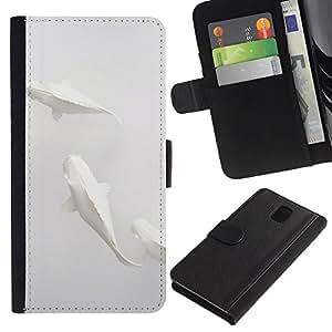 KingStore / Leather Etui en cuir / Samsung Galaxy Note 3 III / Pescados del arte minimalista Papel Lápiz