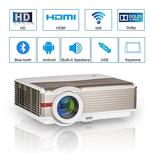 Projector No Lens Theater (4200 Lumens Wifi Bluetooth LED Projector High Definition Wireless Home Theater System HDMI Video 1080P Smart LCD Android Digital HD Movie Theatre Projector WXGA 1280x800 Outdoor Party Games Halloween)