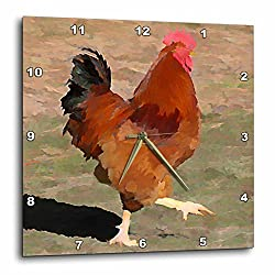 3dRose dpp_49838_3 Big Red Rooster Farm Animal Art Wall Clock, 15 by 15-Inch