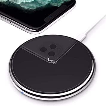 Vebach Dubhe1 Cargador inalámbrico, Qi Certificado Carga Rápida 7.5W Compatible con iPhone x/XS/XS max/xr/8/8 Plus, 10W Wireless Charger Compatible ...