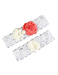 Bridess Wedding Stretch Lace Floral Garter Set