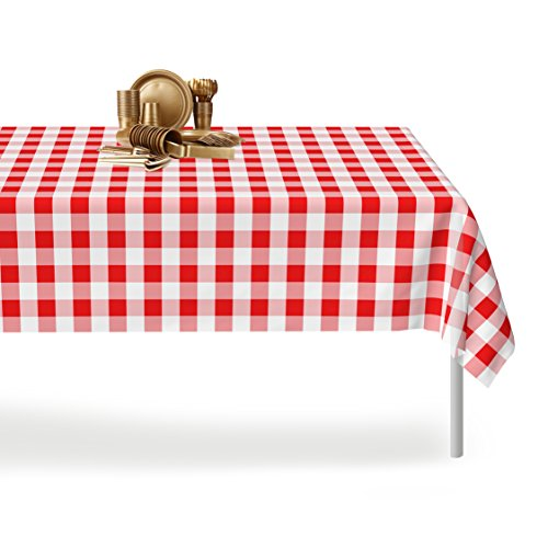 Red Gingham Checkered 12 Pack Premium Disposable Plastic