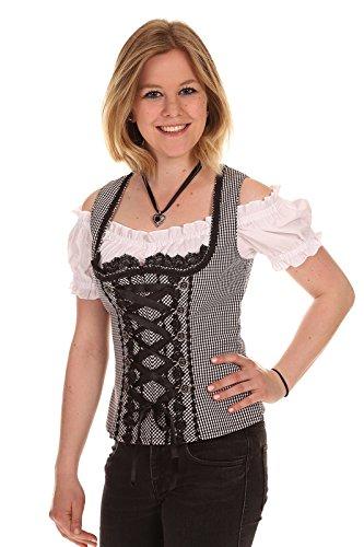 Krüger Dirndl Damen Mieder 39540 schwarz/weiß