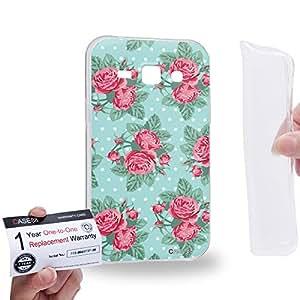 Case88 [Samsung Galaxy J1] Gel TPU Carcasa/Funda & Tarjeta de garantía - Art Drawing Fashion Roses In Blue Floral Pattern 1408