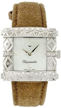 Faconnable – fgzs1 Damen-Armbanduhr – Quarz Analog – Armband Leder beige
