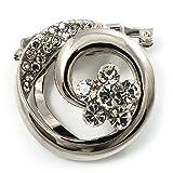Avalaya Swirl Crystal Scarf Pin/Brooch (Silver Tone)