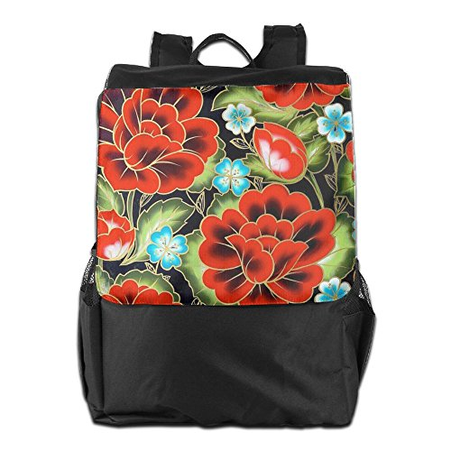 Strap Travel Backpack Women HSVCUY Red Men Flowers Personalized For Dayback Camping and Adjustable School Storage Shoulder Outdoors qt61v6wE