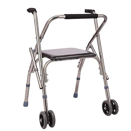 Caminador de 2 ruedas, soporte de rueda delantera, asiento para ...