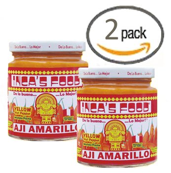 Inca's Food Aji Amarillo Paste - Hot Yellow Pepper Paste, 7.5 Oz Jar - Product of Peru (Pack of - Pepper Amarillo Aji