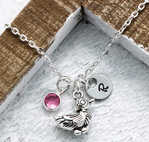 Silver Duck Charm Necklace For Girls & Women - Duck Lover Jewelry - Duck Themed Gifts - Personalized Birthstone, Initial, Chain Length - Fast Shipping ()