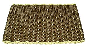 Brown w Sage Rectangular Handcrafted Doormat - Border (Mansion: 30 in. W x 60 in. L)