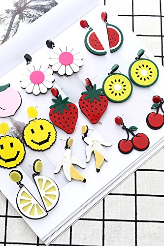 Price comparison product image Generic Korean_style_of quality versatile_ stylish _kiwi_cherry ear Nail earrings _atmospheric_minimalist_personality_fruit ear pendant necklace earrings Earring eardrop earrings