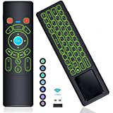 [7-Color LED Backlit] Air Remote Mouse Mini Keyboard Touchpad Home Media Remote Control,RC T6 2.4GHz Wireless USB Remote Keypad for Roku,Kodi,Google Android TV Box,Mac Mini,Xbox,PS3,HTPC,Raspberry Pi