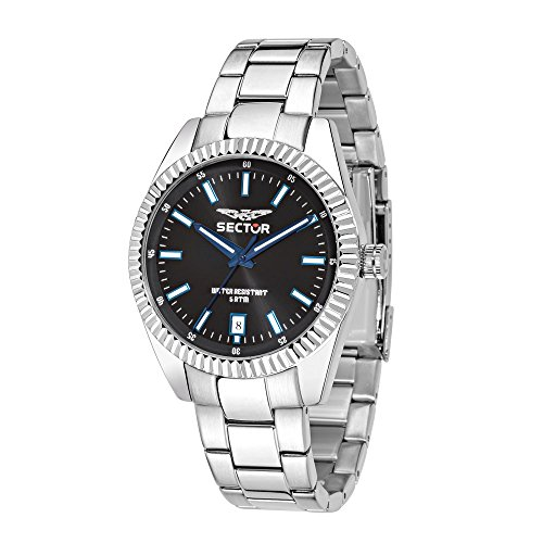 SECTOR Men's 240 Analog-Quartz Sport Watch with Stainless-Steel Strap, Silver, 18 (Model: R3253476001