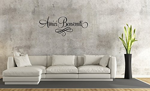 Amici Benvenuti (Script Style) Wall Sticker Family DIY Decor Art Stickers Home Decor Wall Art for Kids Living Room Bedroom Bathroom Office Home Decoration
