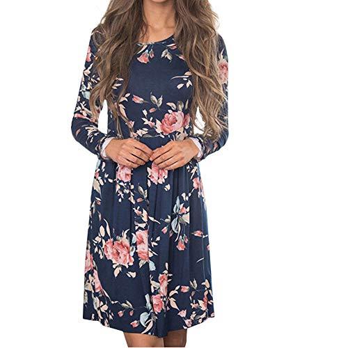 LIM&Shop Women Bohemian Neck Tie Vintage Printed Ethnic Style Summer Shift Dress Navy]()